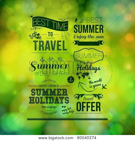 Abstract summer poster. Soft bokeh background, typography design