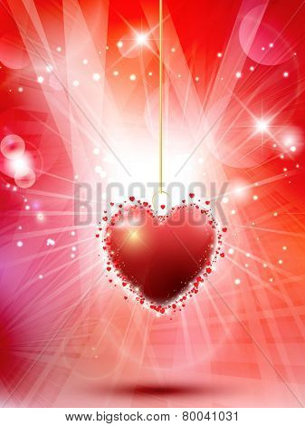 Decorative Valentine's day background with hanging heart