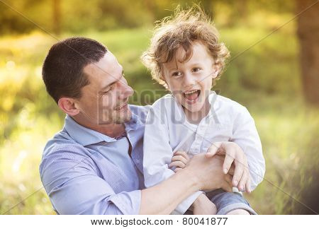 Little boy with his dad