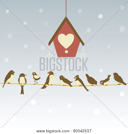 Cute Birds On A Wire