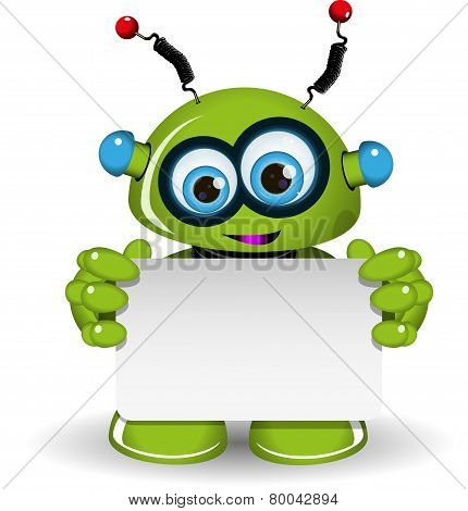 Green Robot And White Background