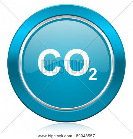 carbon dioxide blue icon co2 sign