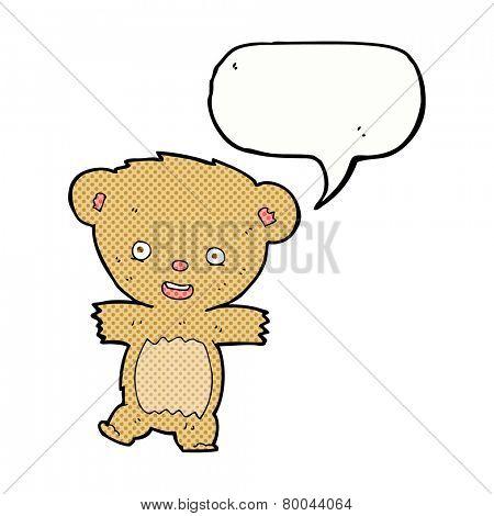 cartoon teddy bear with speech bubble