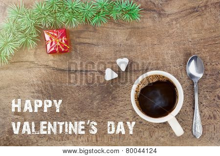 Cup Of Coffee With Valentines Decoration