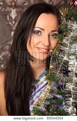 Winter, Holidays, Happiness And People Concept - Smiling Woman In Santa Helper Hat Over Living Room