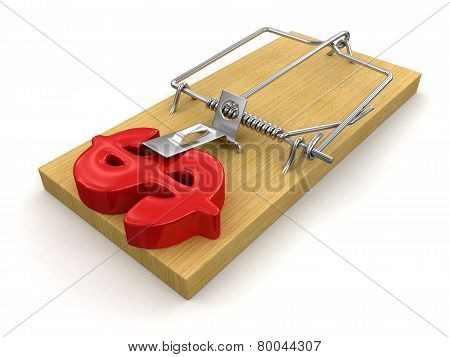 Mousetrap and Dollar Sign (clipping path included)