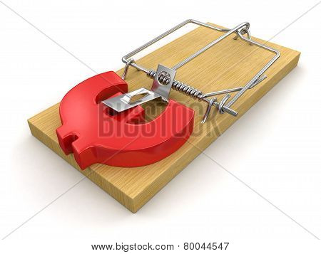 Mousetrap and Euro Sign (clipping path included)