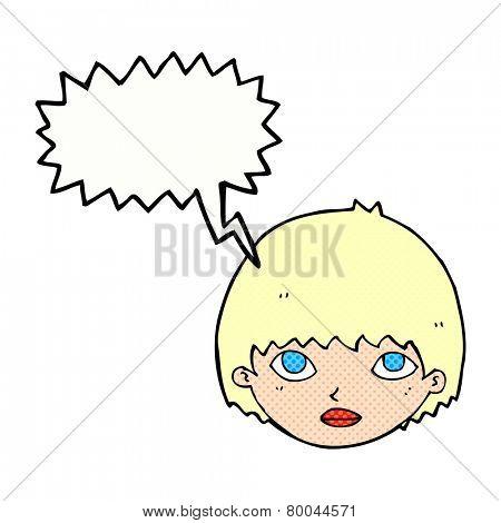 cartoon girl staring with speech bubble