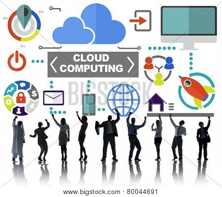 Business People Celebration Global Communications Cloud Computing Concept