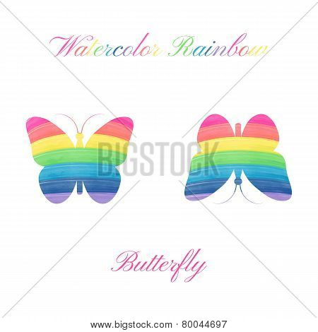 Vector watercolor butterfly.