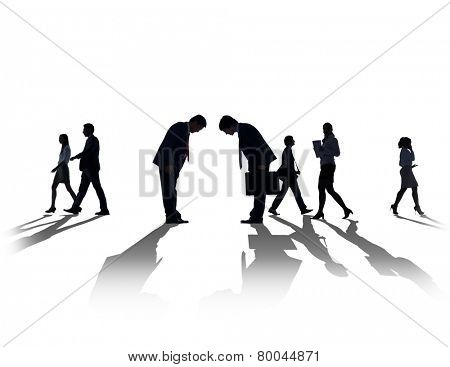 Silhouette Business People Discussion Communication Greeting Bowing Concept