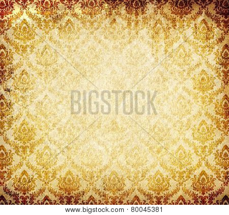 Old Grunge Paper Background With Vintage Ornament.