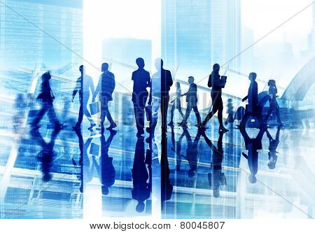Diversity Business People Coorperate Rush Hour Concept