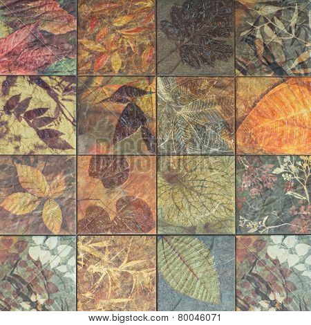 Old wall ceramic tiles patterns handcraft from thailand In the park public.