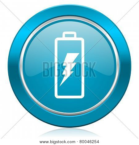 battery blue icon power sign