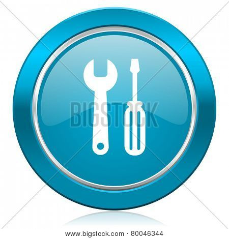 tools blue icon service sign