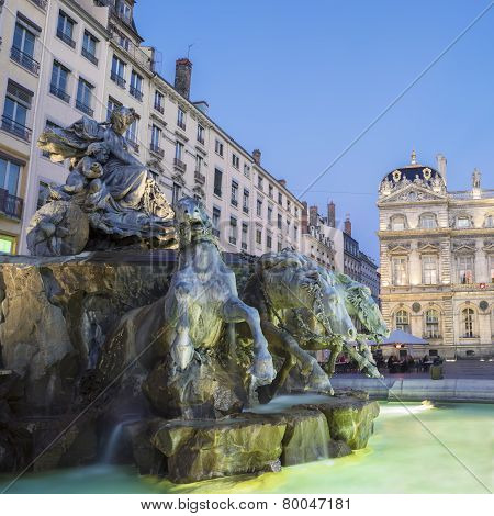 Bartholdi Fountain In Lyon By Night