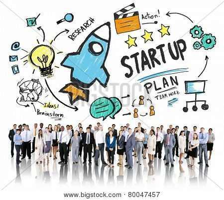 Start Up Business Launch Business People Corporate Concept