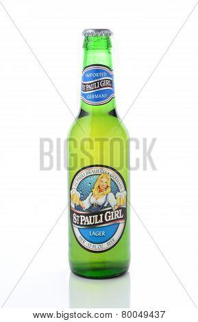 St Pauli Girl Beer Bottle On White