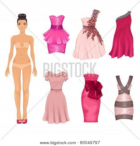 Vector Dress-up Doll With  Pink Dresses