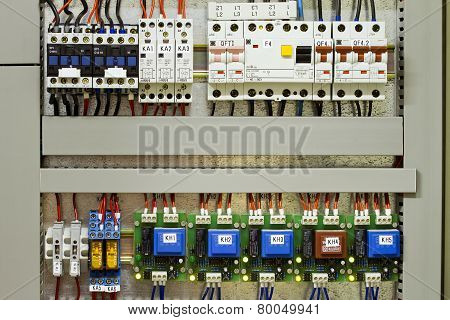 Industrial Electrical panel with fuses and contactors poster
