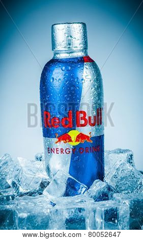 MOSCOW, RUSSIA-APRIL 4, 2014: Bottle of Red Bull Energy Drink. In terms of market share, Red Bull is the most popular energy drink in the world, with 5.387 billion cans sold in 2013.