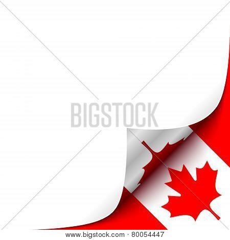 Curled up Paper Corner on Canadian Flag Background.Vector Illustration