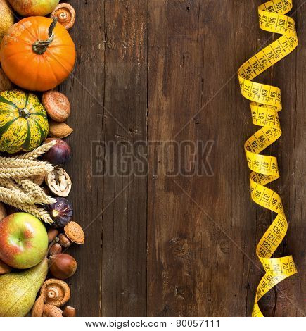 Autumn Border On A Wooden Table