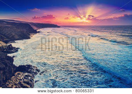 Fuerteventura sunset on the beach filtered