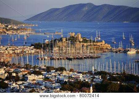 View of Bodrum harbor during hot summer day. Turkish Riviera. poster