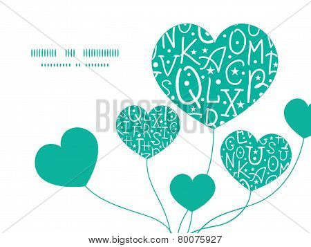 Vector white on green alphabet letters heart symbol frame pattern invitation greeting card template