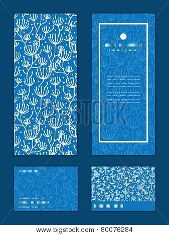 Vector blue white lineart plants vertical frame pattern invitation greeting, RSVP and thank you card
