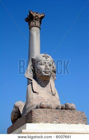 Egypt Alexandra Pompey Pillar and Sphinx