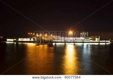 bay dam at night