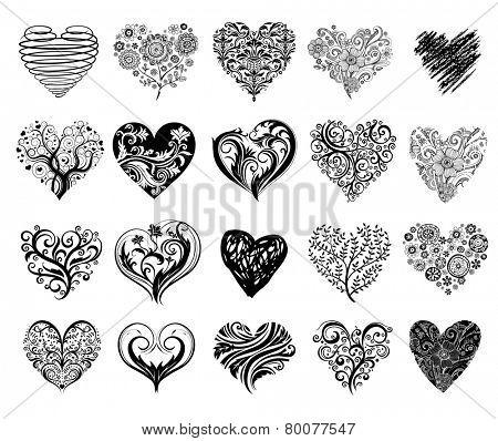 Set of 20 tattoo hearts, vector image.