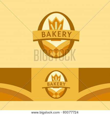 Vector logo for a bakery, macaroni factory. Image field and ears, the crown