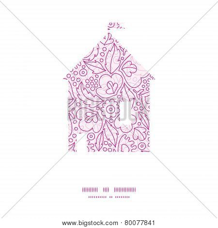 Vector pink flowers lineart house silhouette pattern frame