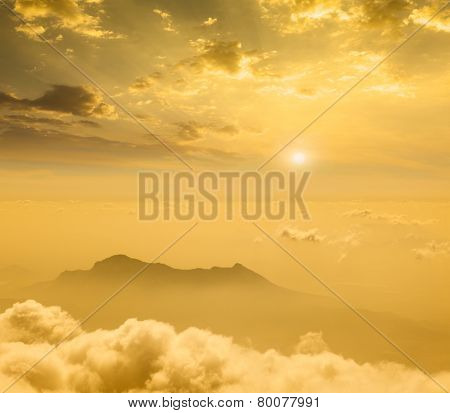 Mountains in cloud on sunset. Tamil Nadu, India