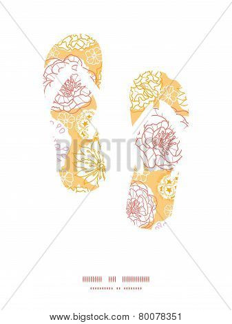 Vector warm day flowers flip flops silhouettes pattern frame