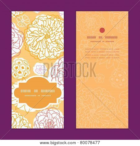 Vector warm day flowers vertical frame pattern invitation greeting cards set