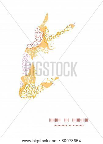 Vector warm day flowers jumping girl silhouette pattern frame