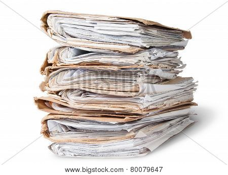 Old Files Arranged In Chaotic Stack Rotated