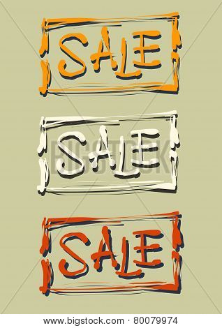 Hand Lettering Sale In The Frame. Vector Illustration
