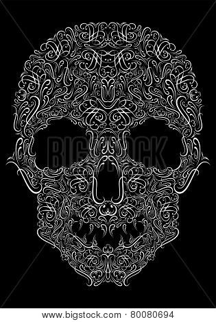 Human Skull From Floral Elements On A Black Background