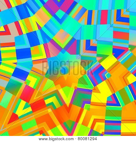 Abstract background in rainbow colors. Concentric yellow mandala. Multicolored mosaic. Digital art.