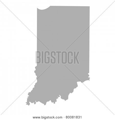 Indiana State map isolated on a white background, USA.
