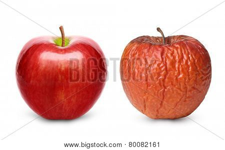 Wrinkled and fresh apple isolated on white background. Aging concept.