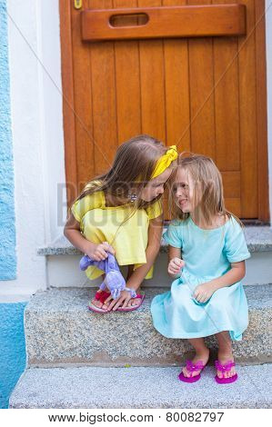 Adorable little girls during summer vacation