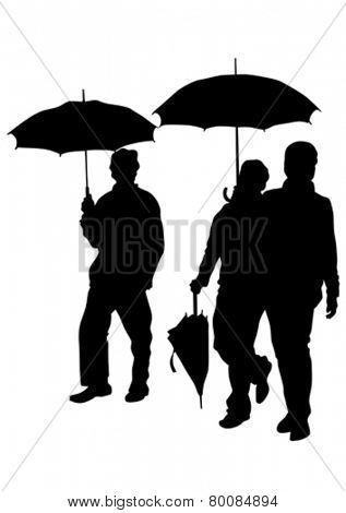 Man with an umbrella on a white background
