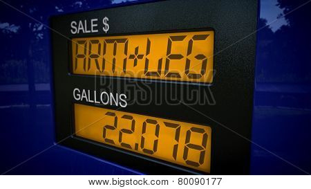Conceptual gas pump display showing the price of an arm and a leg for gasoline.